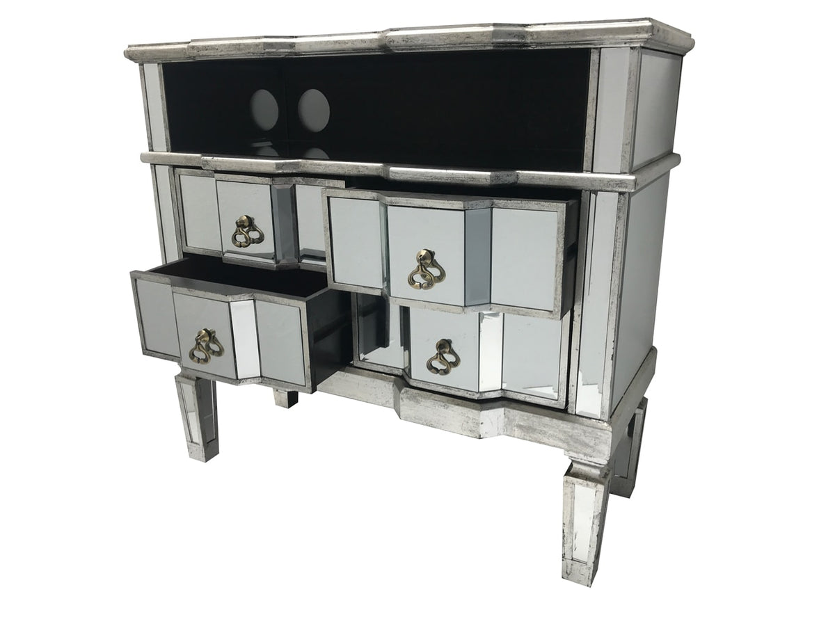 Charleston mirrored media unit, 4 drawers, brass drop handles, wood and mirror, antiqued silver.