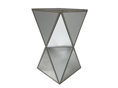 Charleston mirrored end table in geometric shape,  all panels bevelled, wood and mirror, antiqued silver
