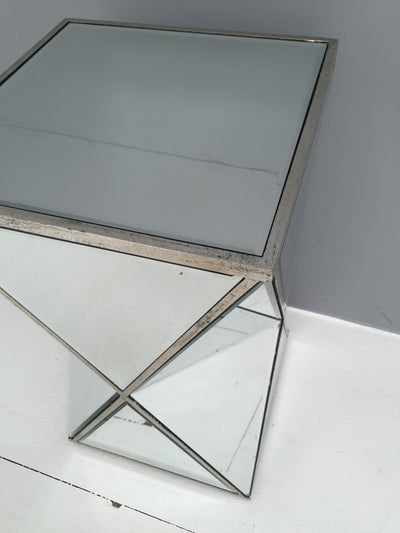 Mirrored side table in geometric shape,  all panels bevelled, wood and mirror, antiqued silver