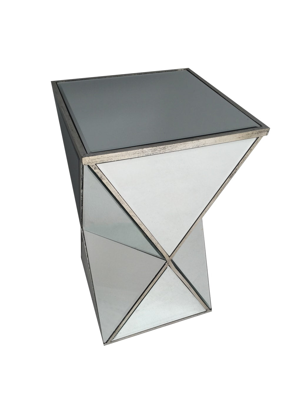 Mirrored end table in geometric shape,  all panels bevelled, wood and mirror, antiqued silver