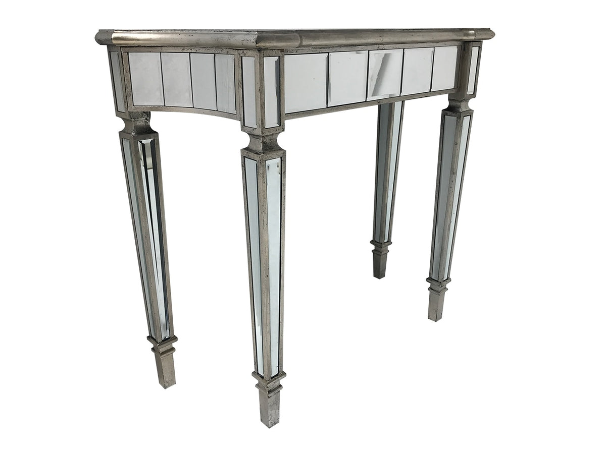 Marbella mirrored console table, wood and mirror, bevelled glass, antiqued silver edging