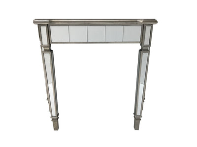 Mirrored console table, wood and mirror, bevelled glass, antiqued silver edging