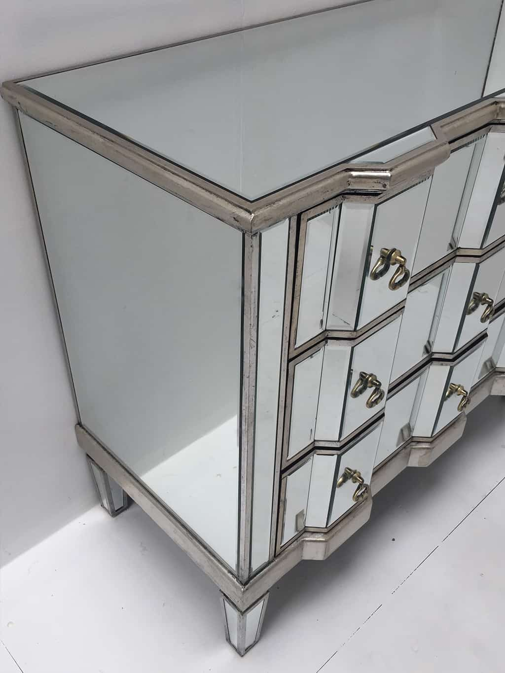 Charleston mirrored chest of 3 drawers, vintage style, silver finish, large and deep drawers, brass drop handles.