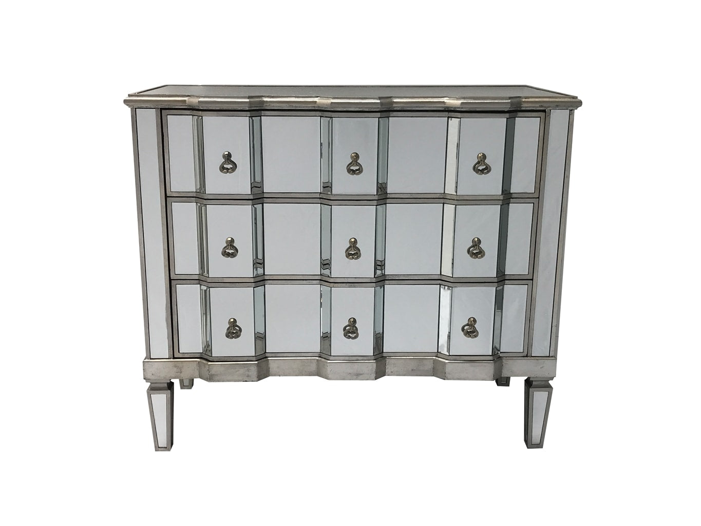 Charleston mirrored chest of 3 drawers, vintage style, silver finish, large and deep drawers, brass drop handles