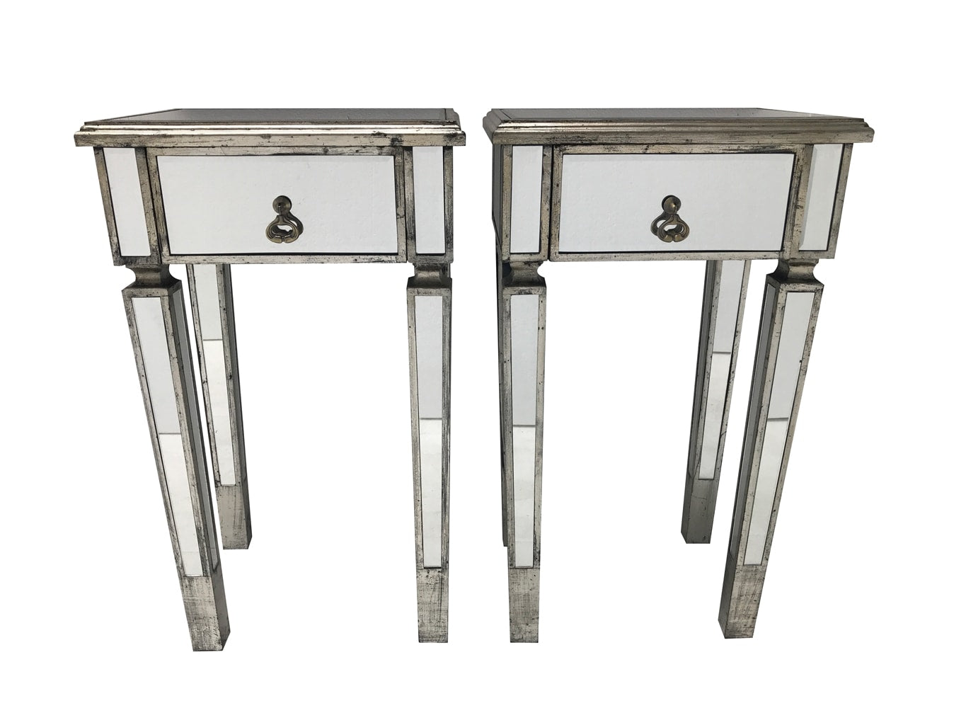 Pair of Mirrored Side Tables with wooden edging and antiqued slim silver finish from our stunning luxury Charleston collection. Brass drop handles, one drawer, wood and mirror, antique silver finish