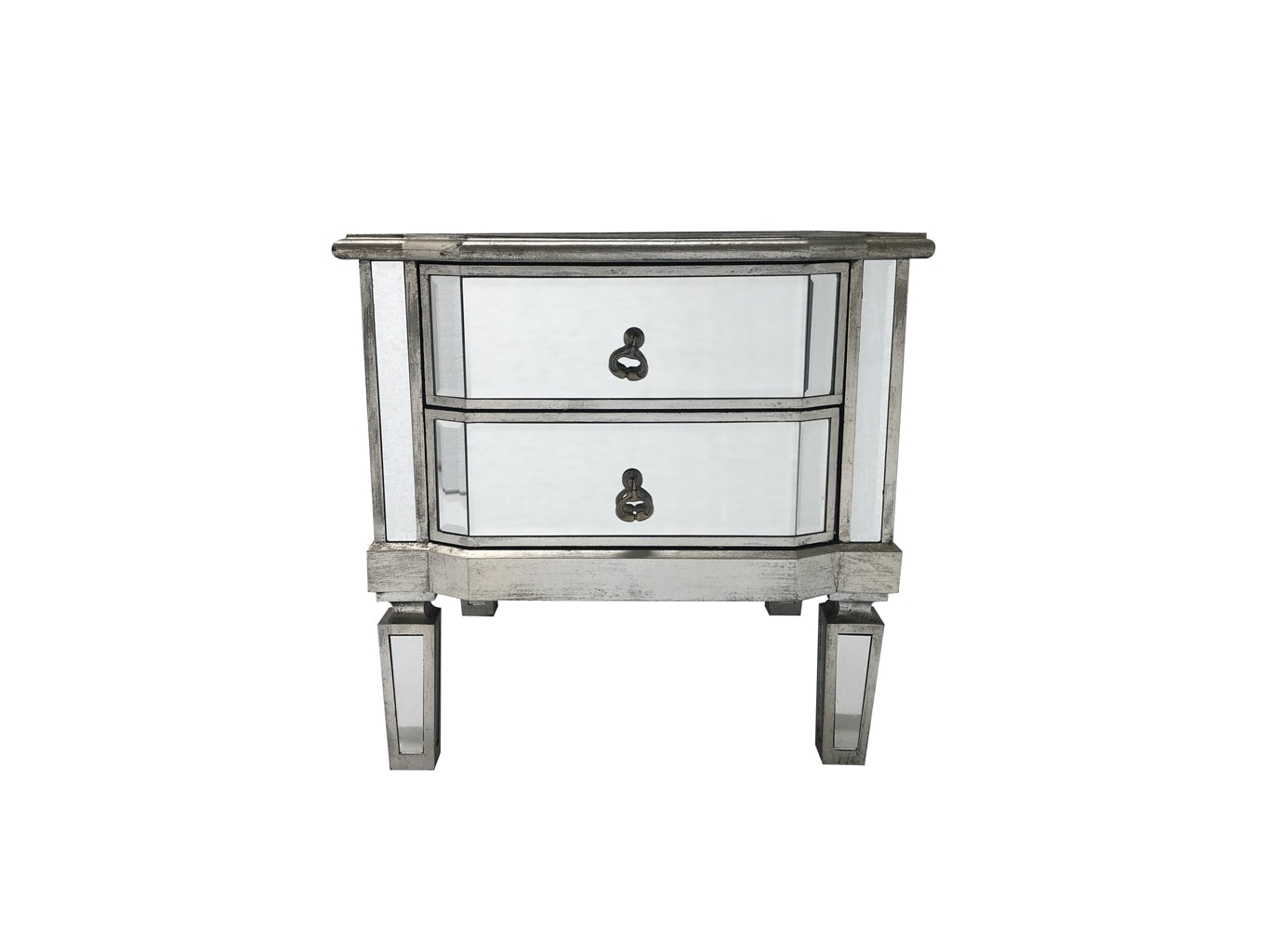 Charleston Mirrored Bedside Table, wood and mirror, antiqued silver