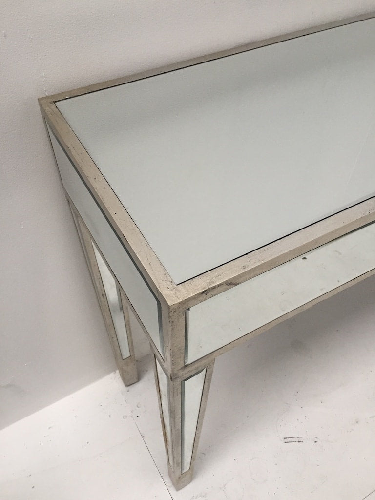 Mirrored Console Table, slim design, wood and mirror, antiqued silver finish
