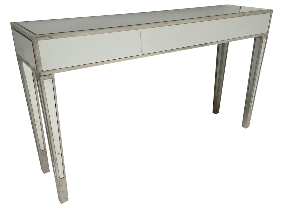 Charleston slim Mirrored Console Table, wood and mirror, antiqued silver finish