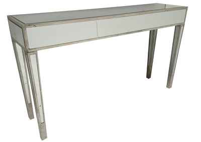 Slim Mirrored Console Table, wood and mirror, antiqued silver finish
