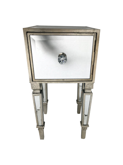 Hollywood mirrored nightstand, wood and mirror, antiqued silver finish.