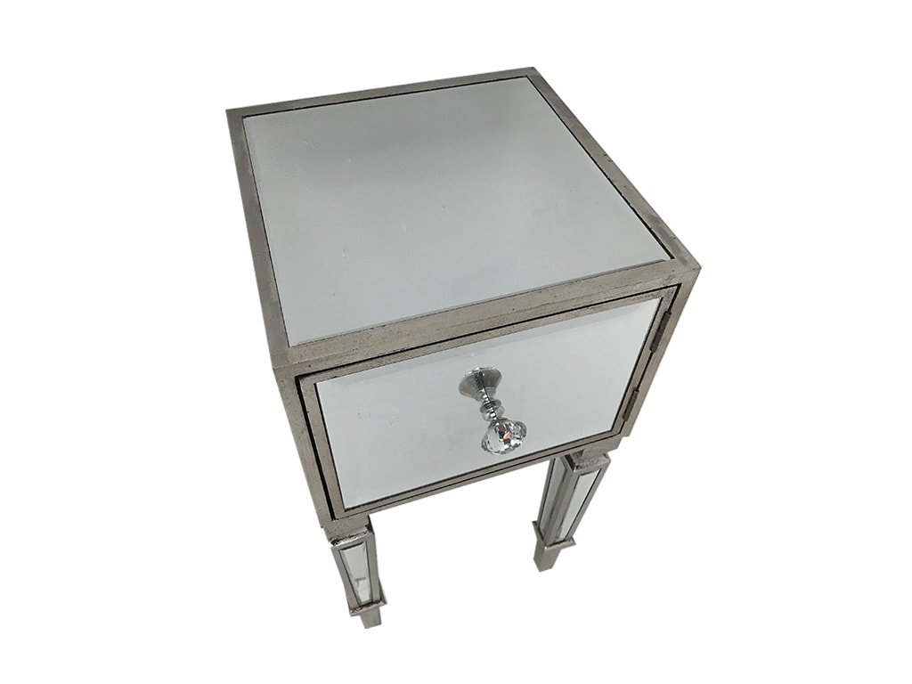 Mirrored nightstand with a cupboard, wood and mirror, antiqued silver finish.