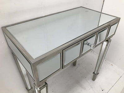mirrored console table with a single drawer, wood and mirror, slim design, crystal handle