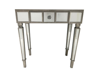 Hollywood mirrored console table with a single drawer, wood and mirror, slim design, crystal handle.