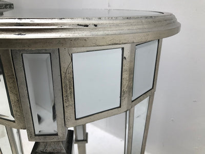 Round Mirrored Side Table, wood and mirror, antiqued silver finish.