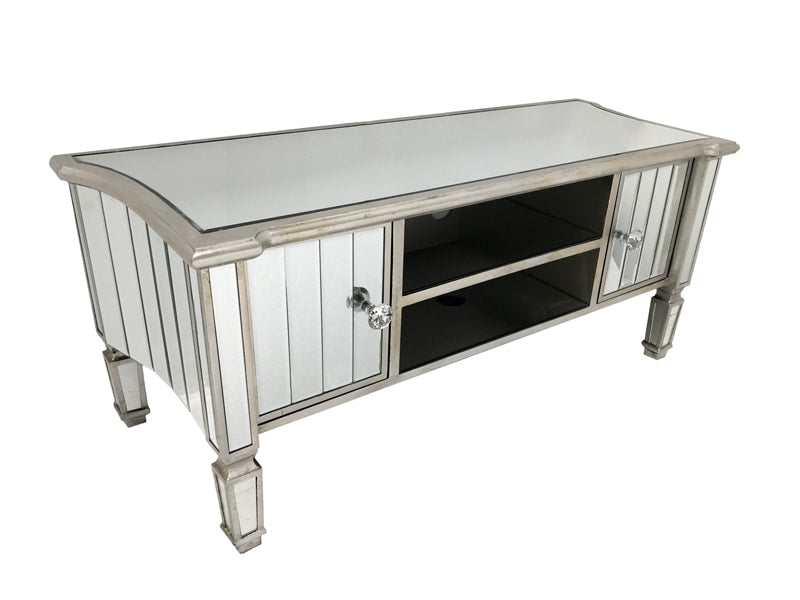 Media unit with storage, cord opening, bevelled mirror panels, wood and mirror, antiqued silver finish.