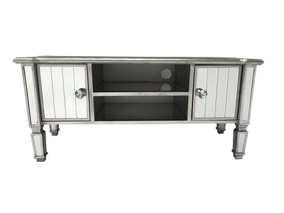 Marbella media unit with storage, cord opening, bevelled mirror panels, wood and mirror, antiqued silver finish.