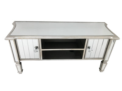 Marbella media unit with storage, cord opening, bevelled mirror panels, wood and mirror, crystal knobs, antiqued silver finish.