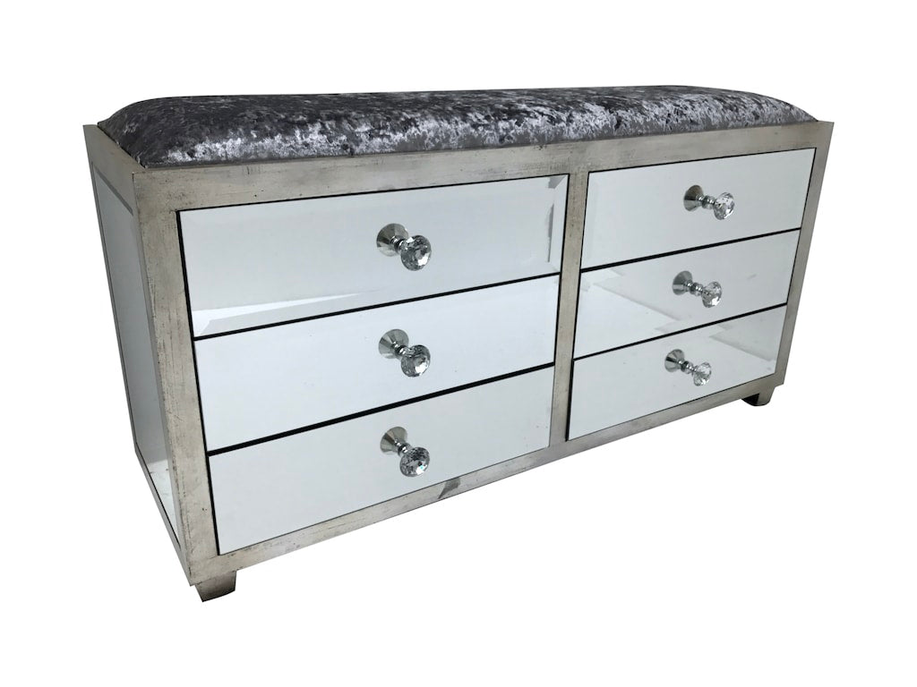 Hollywood Mirrored Ottoman with 6 Drawers, crystal knobs, grey crushed velvet upholstery fabric, bevelled mirror panels, wood and mirror, antiqued silver finish.