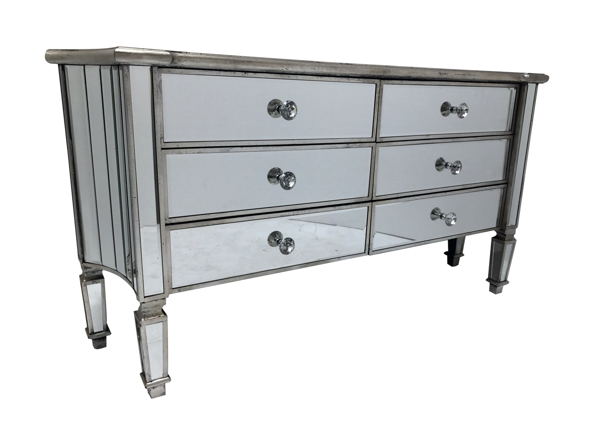 Mirrored Sideboard with 6 drawers, wood and mirror, crystal knobs, antique silver