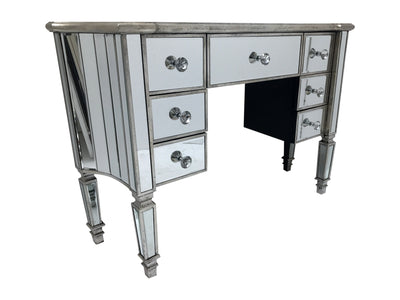 Marbella kneehole mirrored dressing table, 7 drawers, crystal knobs, wood and mirror, antiqued silver