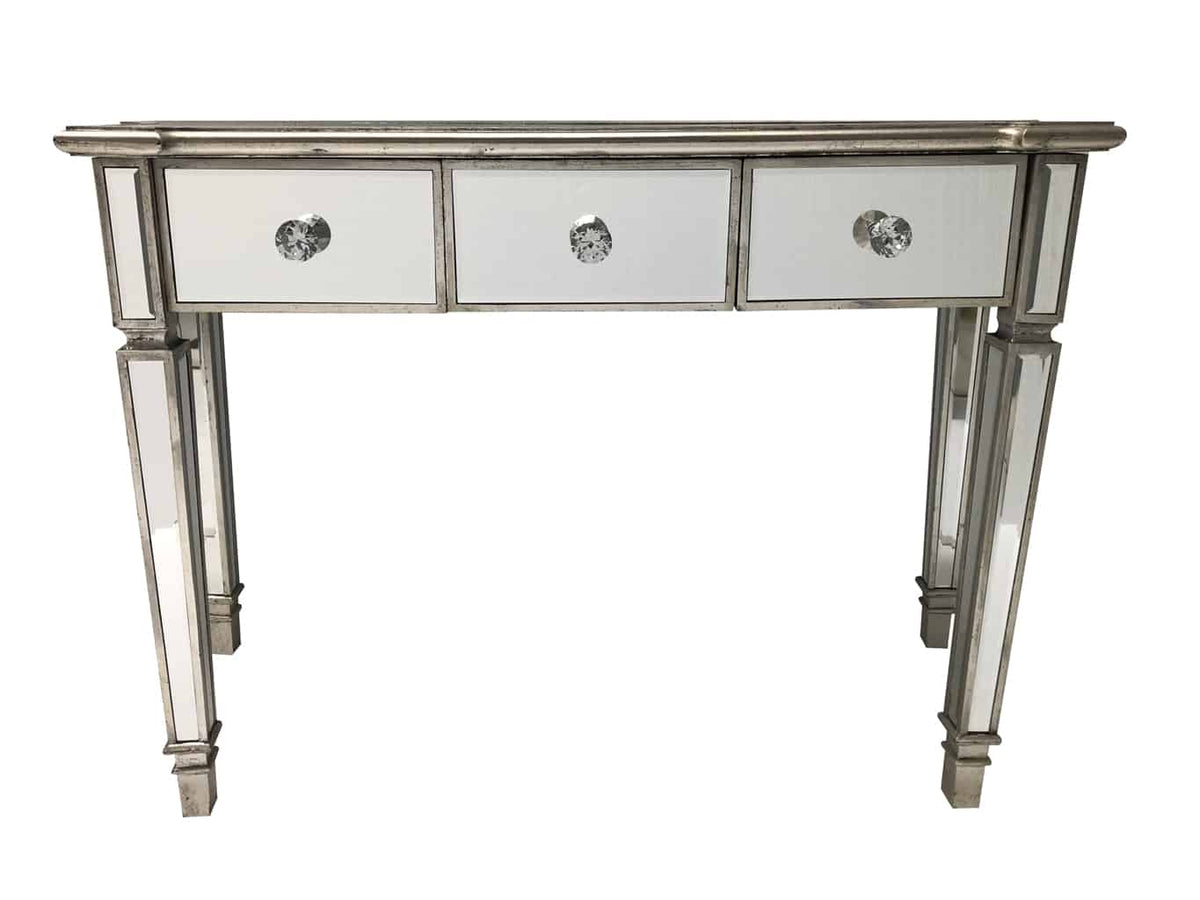 Mirrored Console Table with 3 drawers, vintage style, 4cm diameter diamante handles, wood and mirror, antiqued silver.
