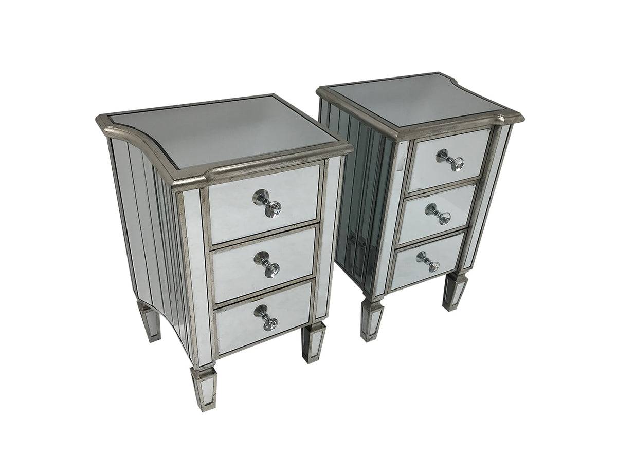 Marbella pair of bedsides, 3 drawers, crystal knobs, wood and mirror, antiqued silver finish