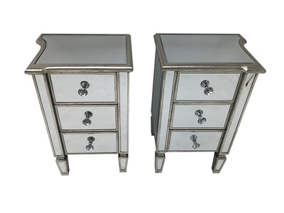 Marbella pair of nightstands, 3 drawers, crystal knobs, wood and mirror, antiqued silver finish