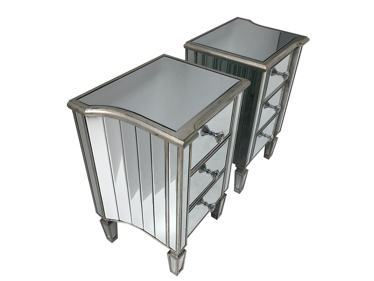 Marbella mirrored bedside tables, 3 drawers, crystal knobs, wood and mirror, antiqued silver finish