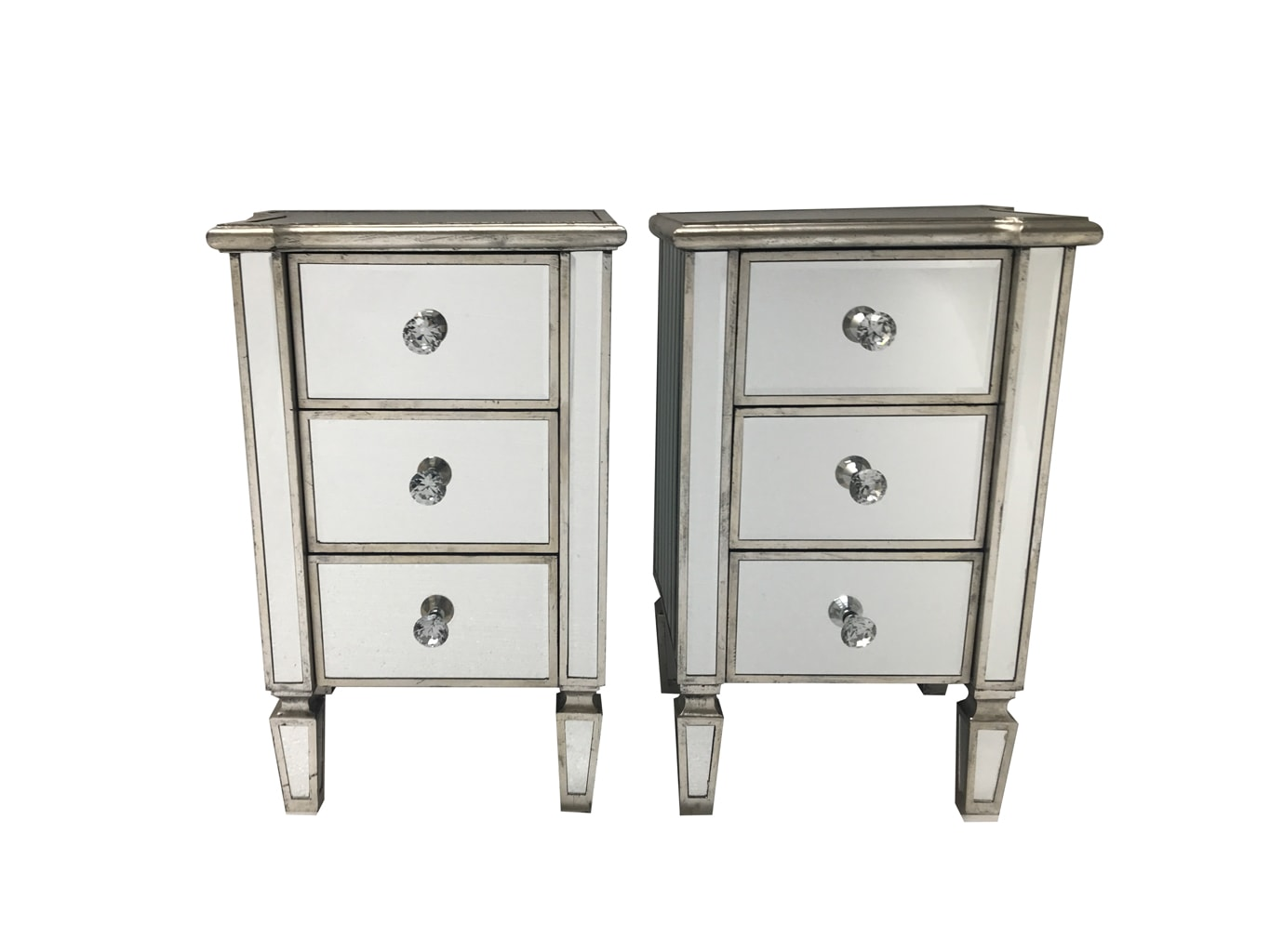 Marbella pair of mirrored bedsides, 3 drawers, crystal knobs, wood and mirror, antiqued silver finish