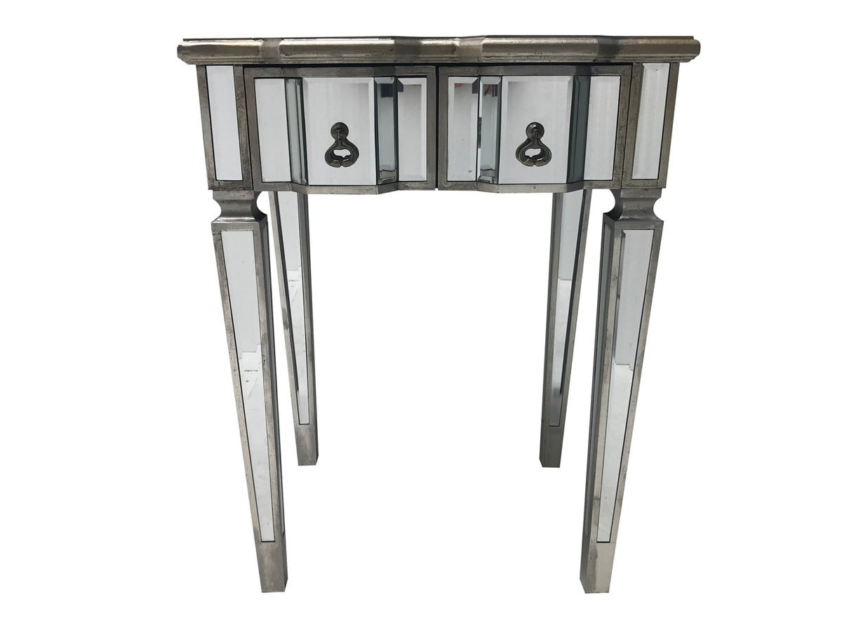Charleston Mirrored Console Table with 2 drawers, antique silver finish, wood and mirror