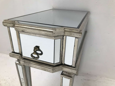 Charleston mirrored table / bedside with one drawer nad brass drop handle