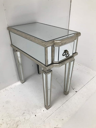 Charleston mirrored table / bedside with a single drawer nad brass drop handle