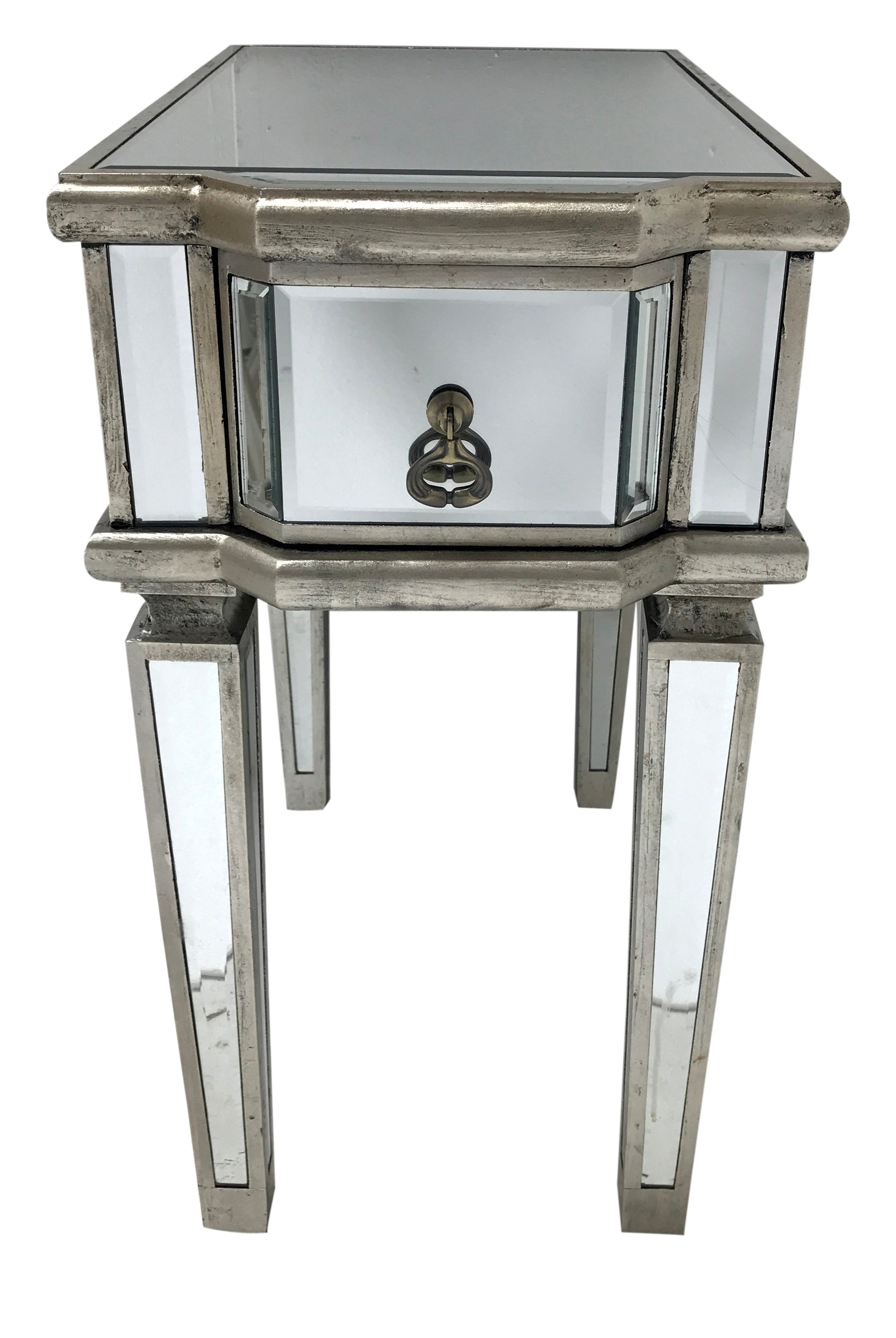 Mirrored Bedside Table » Bevelled Glass » 1 Drawer