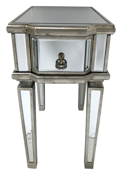 Charleston mirrored table / bedside with a single drawer, wood and mirror, antiqued silver finish.