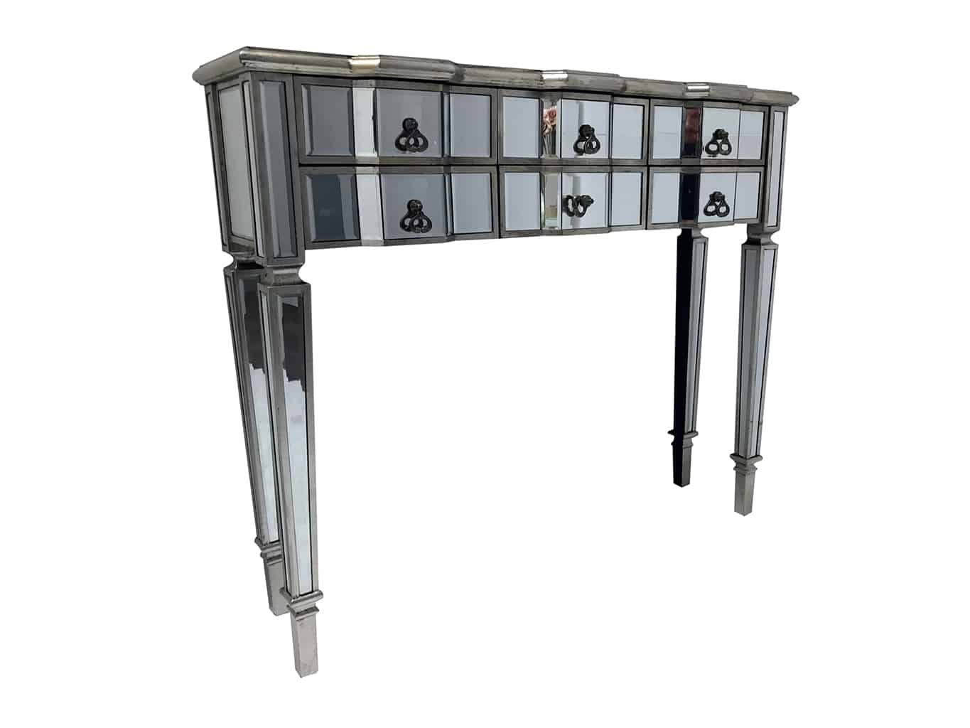 Charleston mirrored console table, six drawers, wood and mirror, antiqued silver, brass drop handles