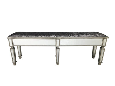 Charleston Mirrored Stool, extra long with all bevelled mirror panels, upholstered in a silver crushed velvet fabric, supported on 6 legs, wood and mirror and cloth, antiqued silver finish.
