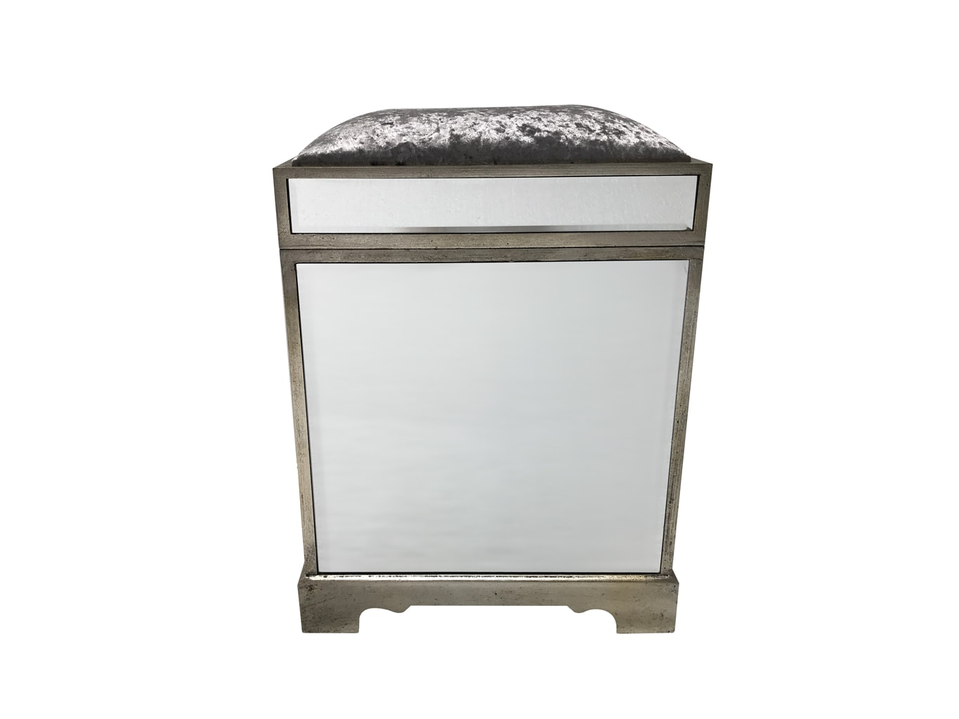 Hollywood mirrored stool / trunk, silver velvet upholstery, wood and mirror and cloth, antiqued silver