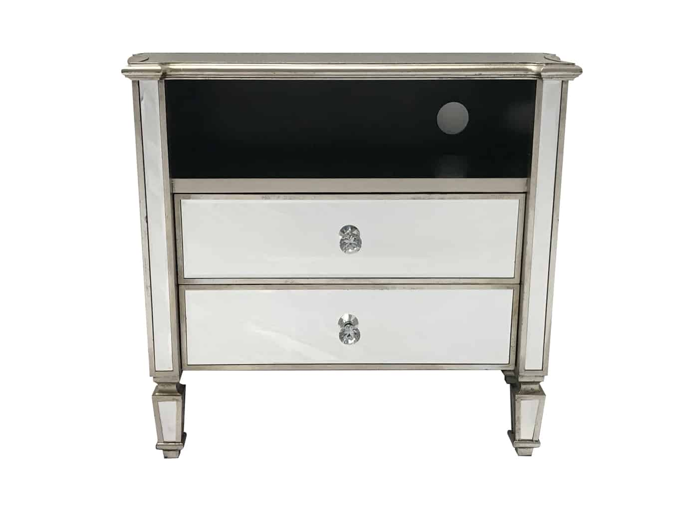 Marbella Mirrored TV Unit with 2 Drawers and a shelf