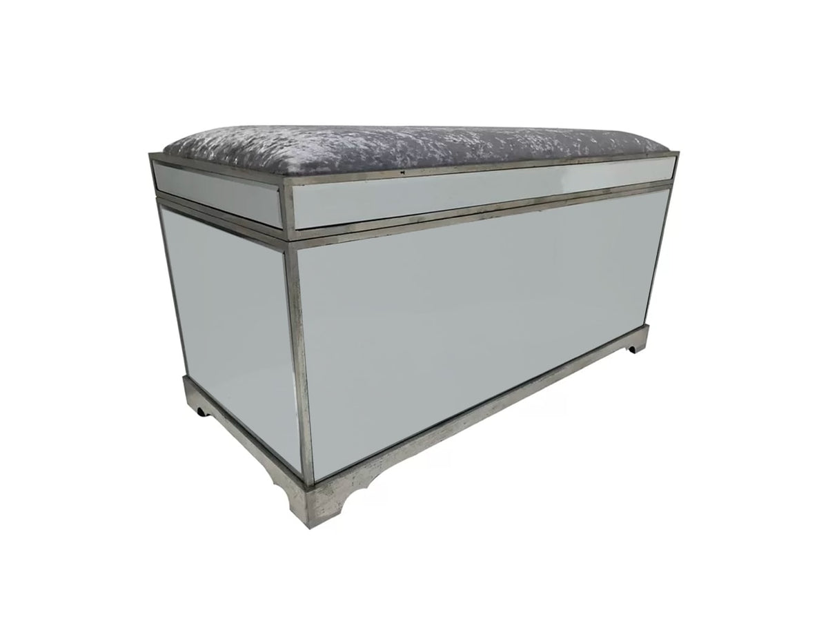 Hollywood Mirrored Trunk with all bevelled mirror panels, the lift up lid is upholstered in a silver crushed velvet material, so can be used as a seat when closed, wood and mirror and cloth, antiqued silver finish
