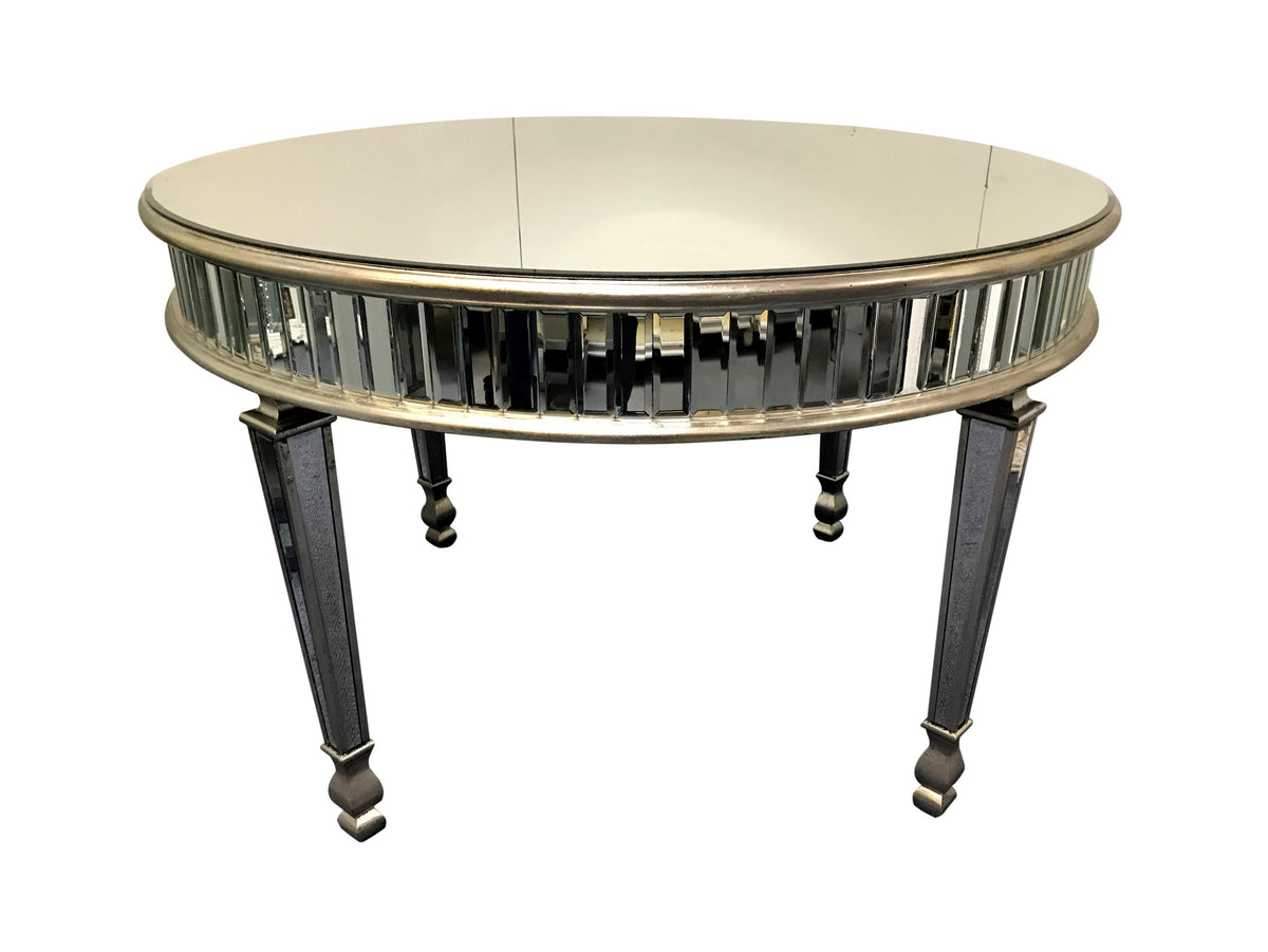 Round mirrored dining table, New York range, antique silver colour finish, mirrored panels, wood and mirror.