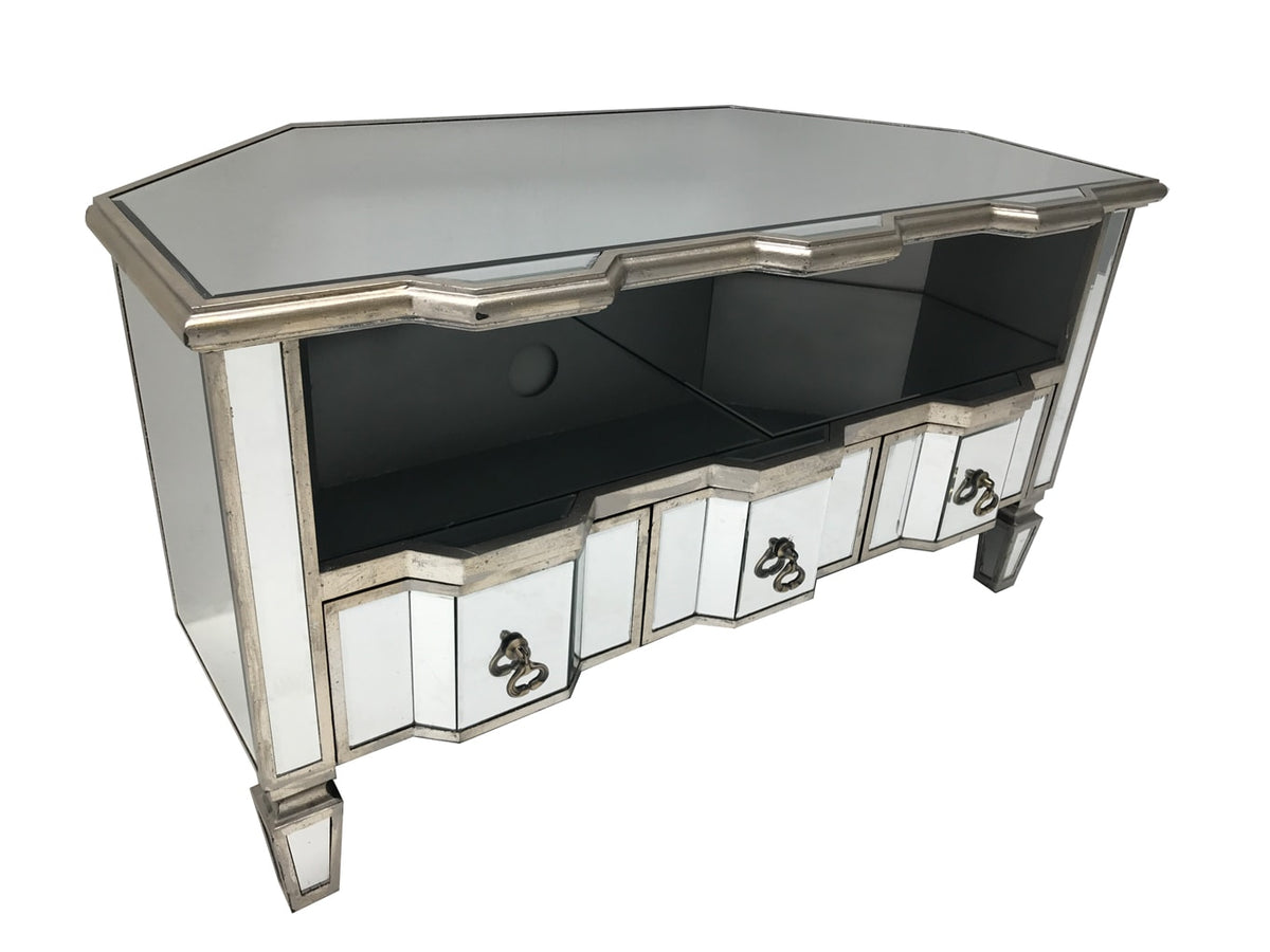 mirrored TV unit with 3 drawers