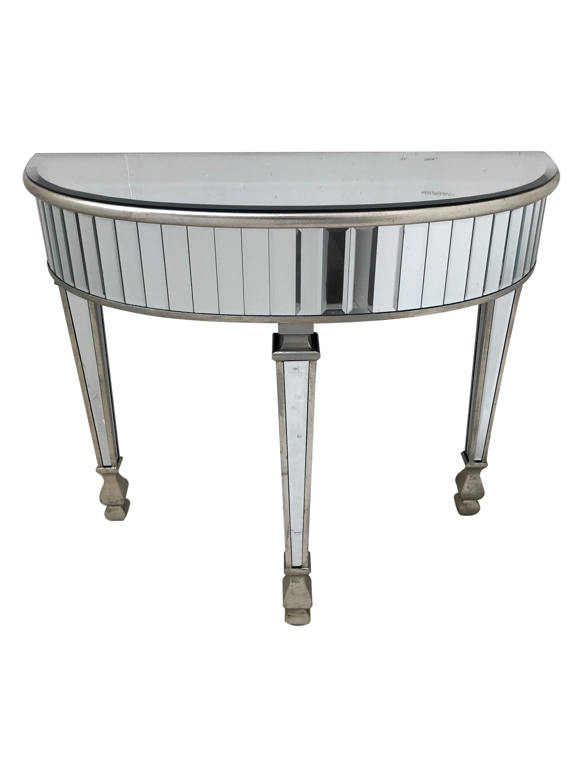 New York Range Mirrored Console Table, half-moon shape, rounded, mirrored strips, bevelled mirror top, antiqued silver finish
