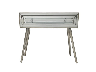 Holywood mirrored console table with a single drawer, 3cm diamante handles,  wood and mirror, vintage silver