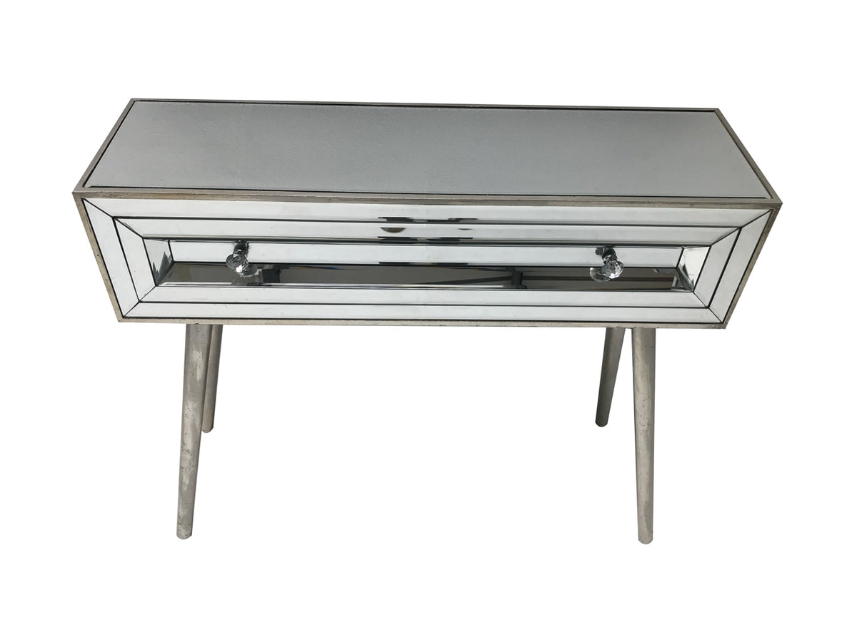 Mirrored console table with a single drawer, 3cm diamante handles, wood and mirror, vintage silver