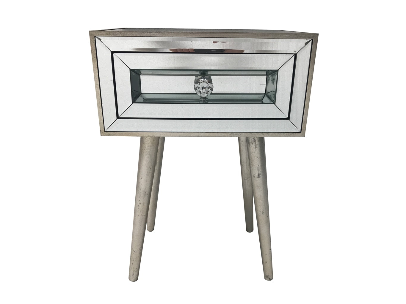 Mirrored Side Table / Bedside, wood and mirror, antique silver finish.