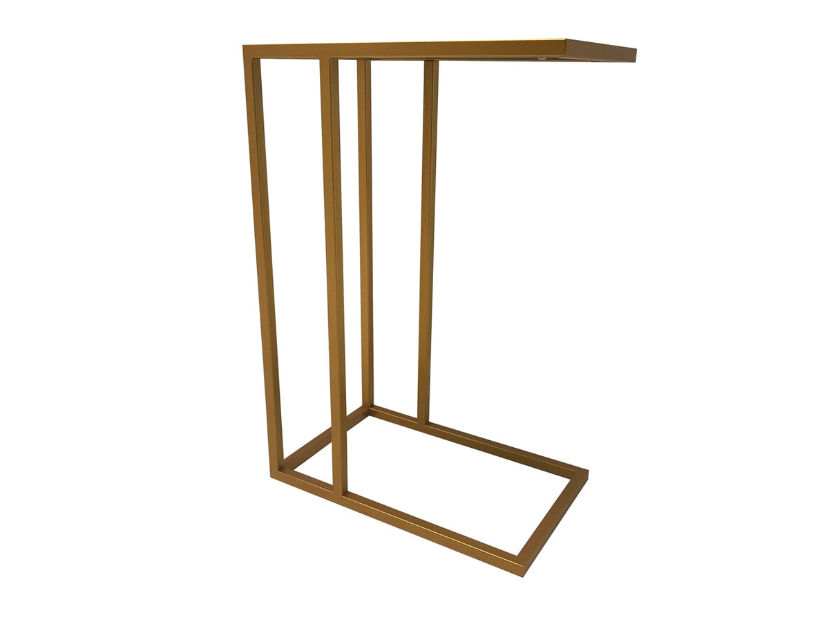 Sofa Side Table, metal and mirror, gold finish