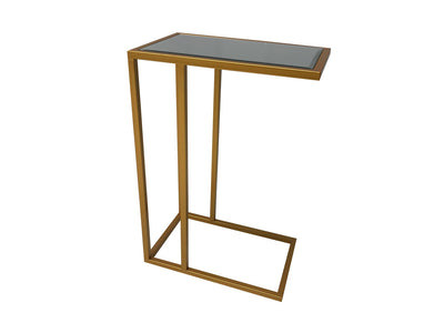 Mirrored Side Table, metal and mirror, gold finish