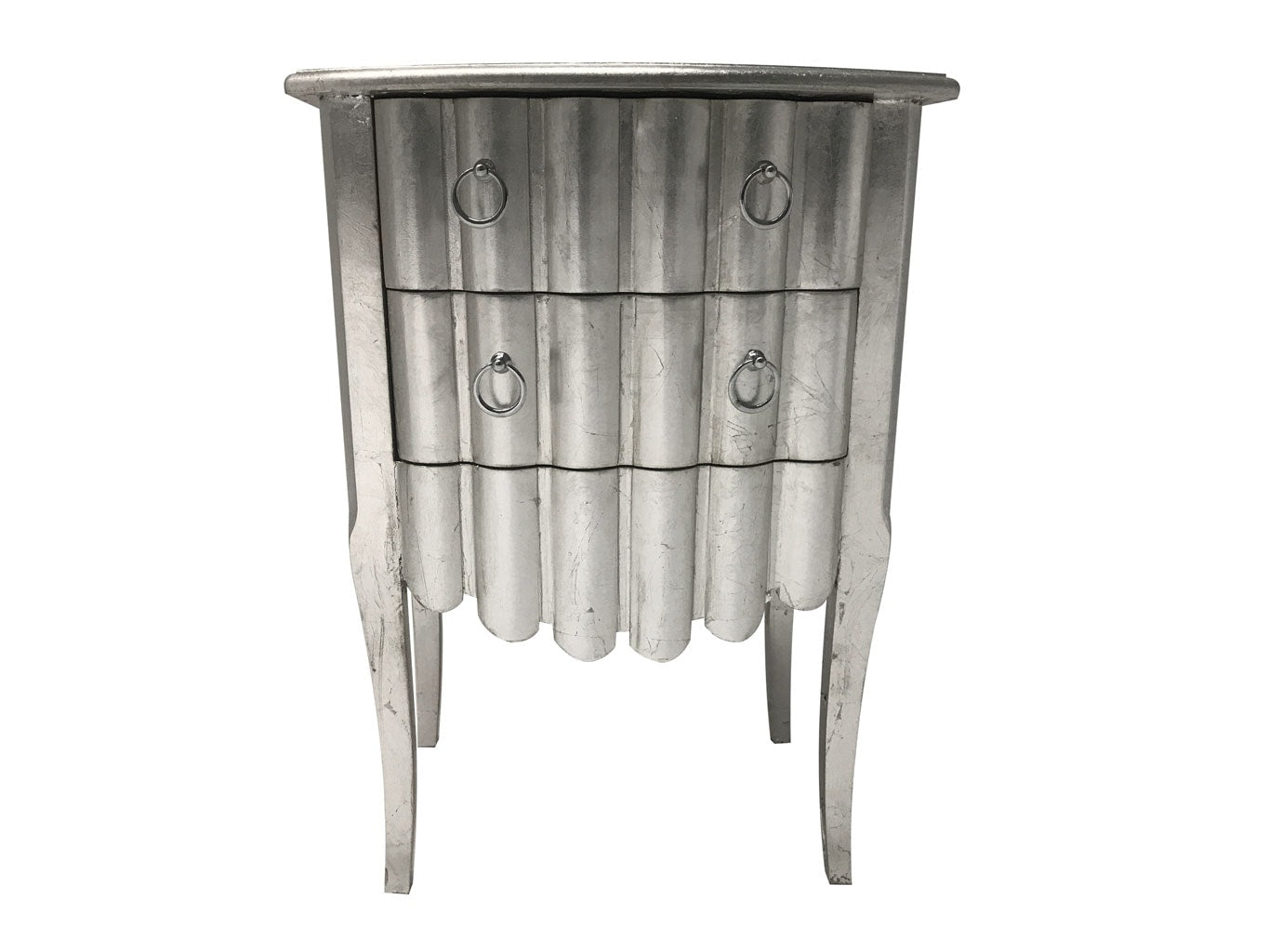 Silver leaf bedside chest with 2 drawers, silver leaf motif, metal handles wood ant silver