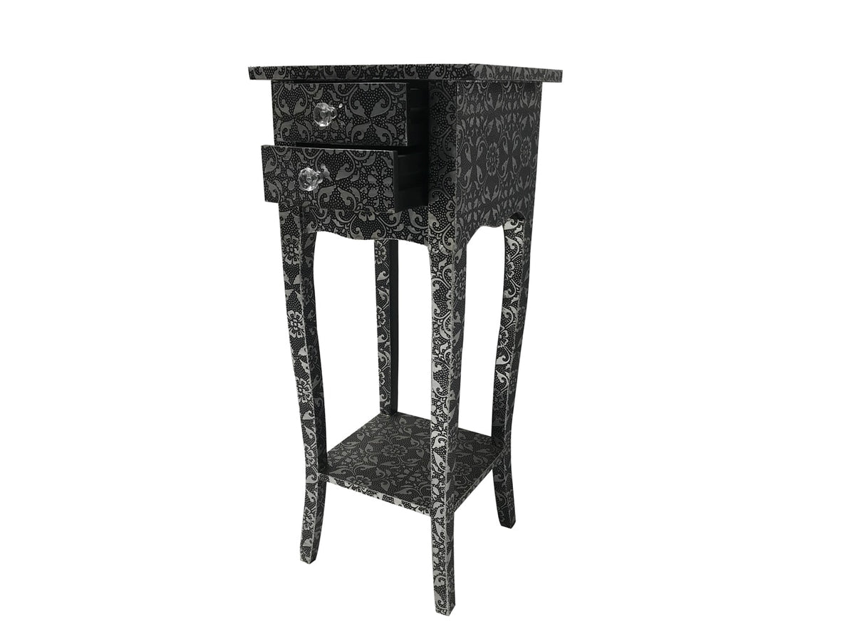 Repousse small bedside table, 2 drawers, open shelf, floral design, crystal knobs, wood and metal, antiqued silver and black finish.