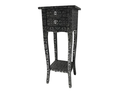 Repousse Small Bedside Table with 2 Drawers and 1 Shelf, crystal knobs,